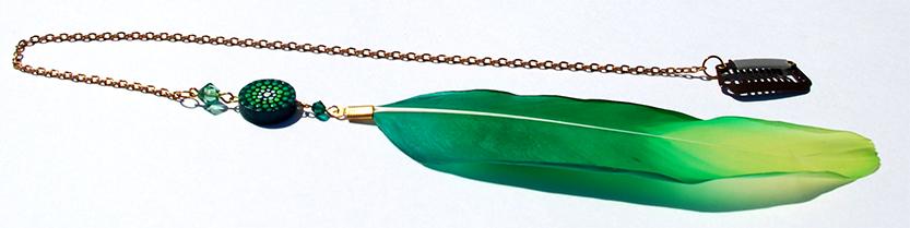 Handmade Hair Feather Clip - Green Goose Feather, sunshine art, sunshine, sunshineart.co.uk