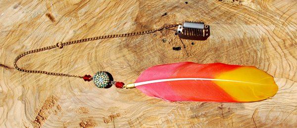 Handmade Hair Feather Clip, Orange and Yellow, painting, mandala, art, sunshine, sunshine art