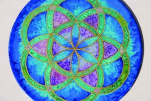 Seed of Life, Silk, painting, mandala, art, sunshine, sunshine art