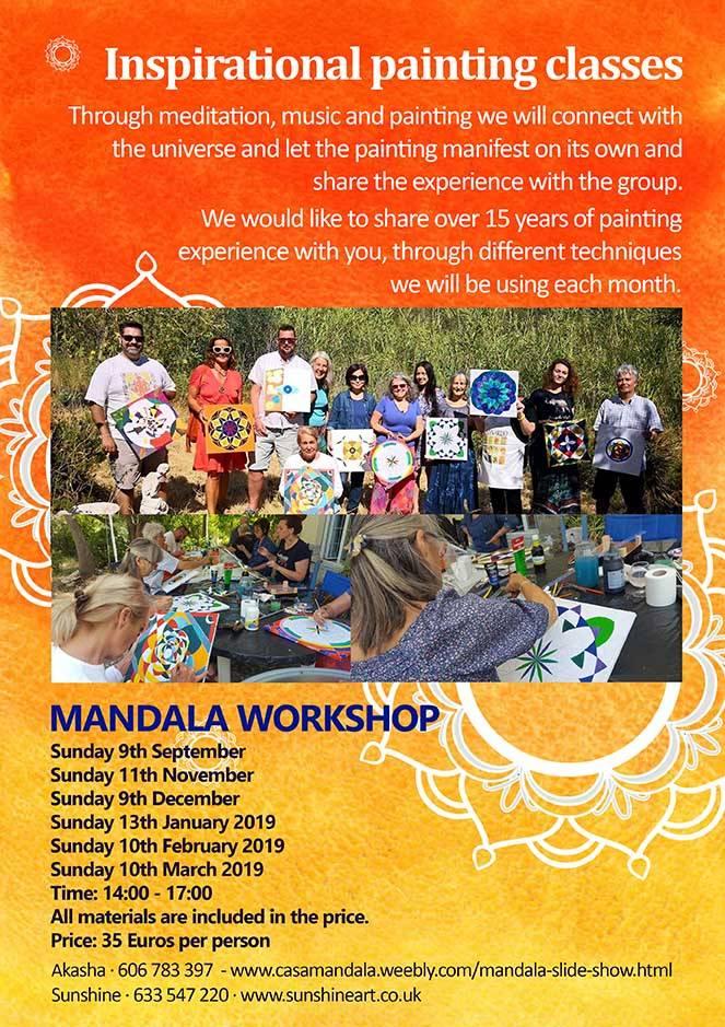 Mandala Workshops, Events, painting, mandala, art, sunshine, sunshine art